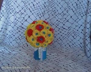 поделка из креповой бумаги - цветочный шар