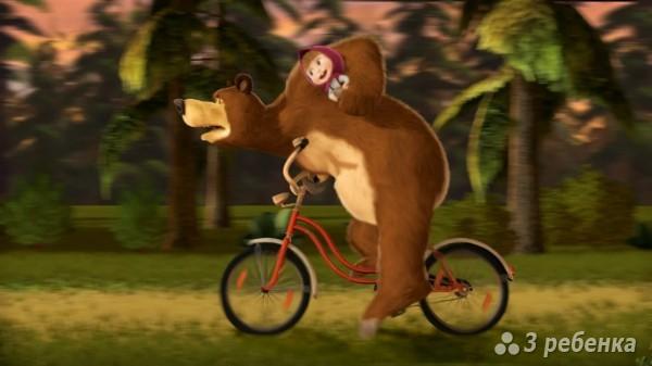 В первую встречу медведь увозит Машу на велосипеде в лес смотреть онлайн