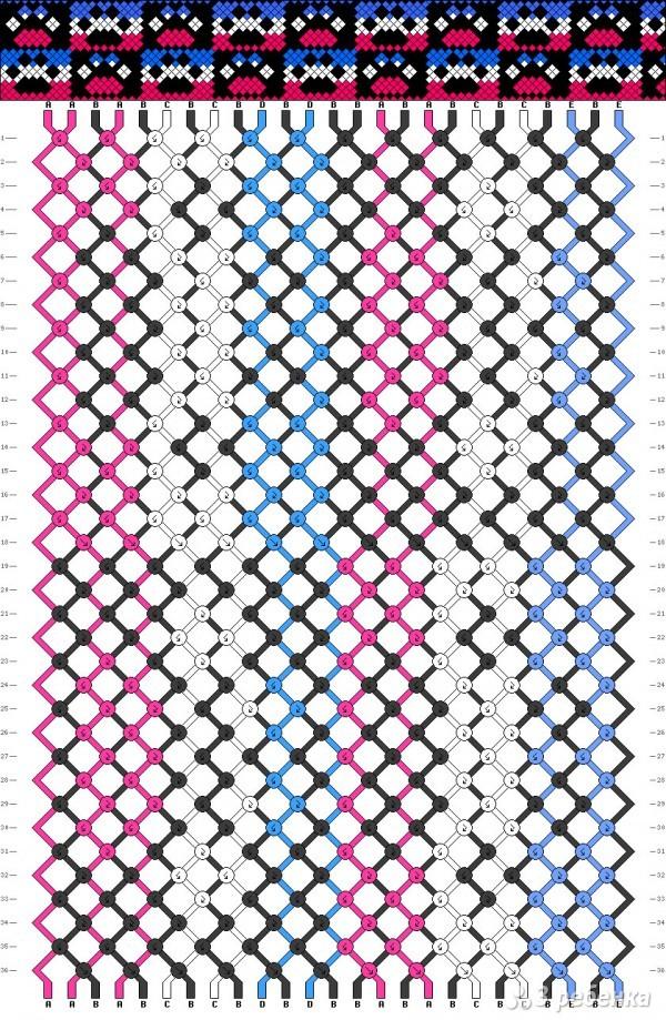 схема фенечки со следами