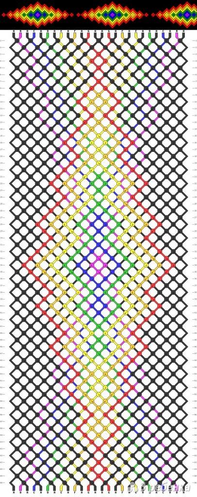 Фенечка с квадратами разных