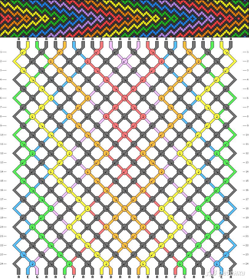 Фенечка косым плетением схемы - Тематические схемы. Фенечки из мулине. Схемы фенечек