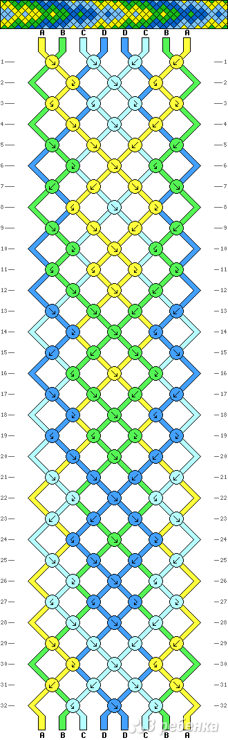 Фенечки косое плетение схемы 8 нитей