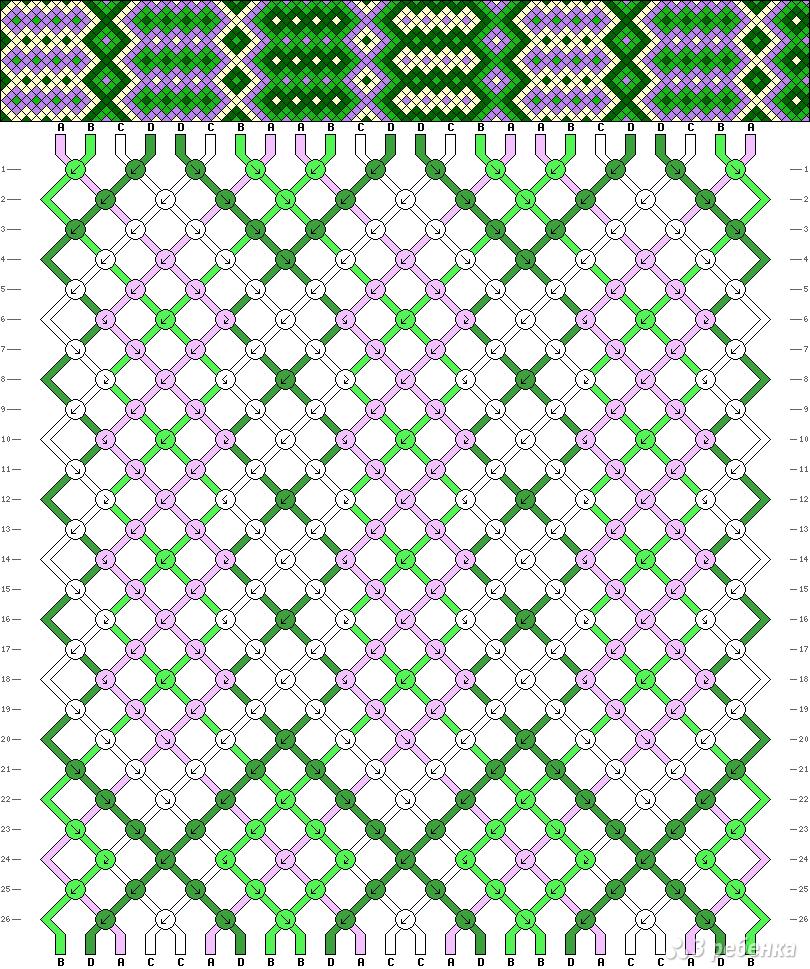 Фенечки с прямым плетением схемы