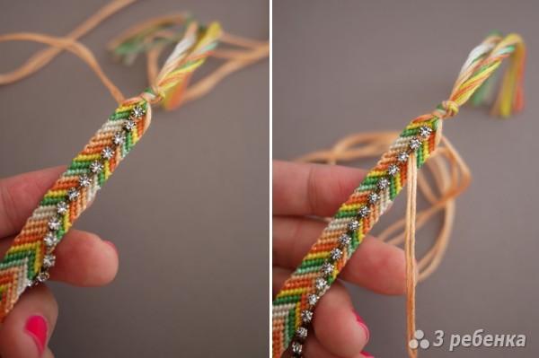 Пришейте браслет в месте, где проходит цепочка так, как показано на картинке.  Когда вы дойдете до конца фенечки...