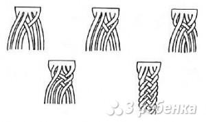схема плетения косички из шести ниток