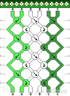 схема фенечки косого плетения
