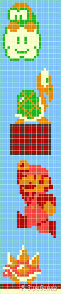 Схема фенечки прямым плетением 6088