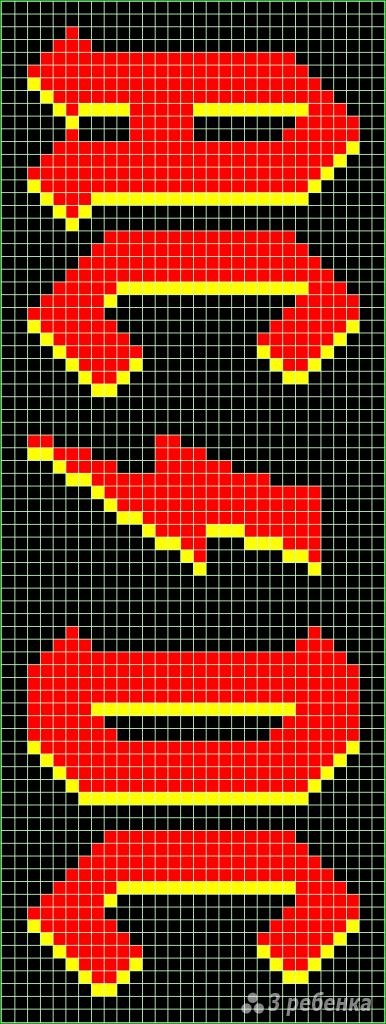 Схема фенечки прямым плетением 7384