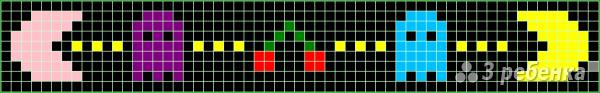 Схема фенечки прямым плетением 7479