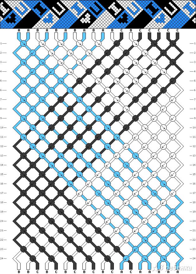 Схемы фенечек косого плетения буквы