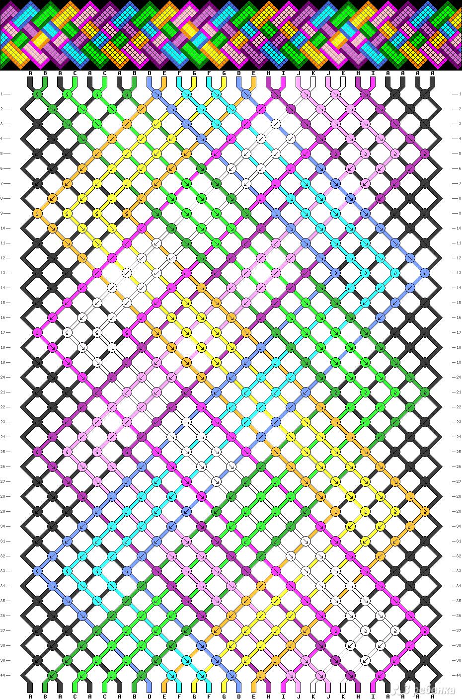 Схема британского флага фенечки прямое плетение6