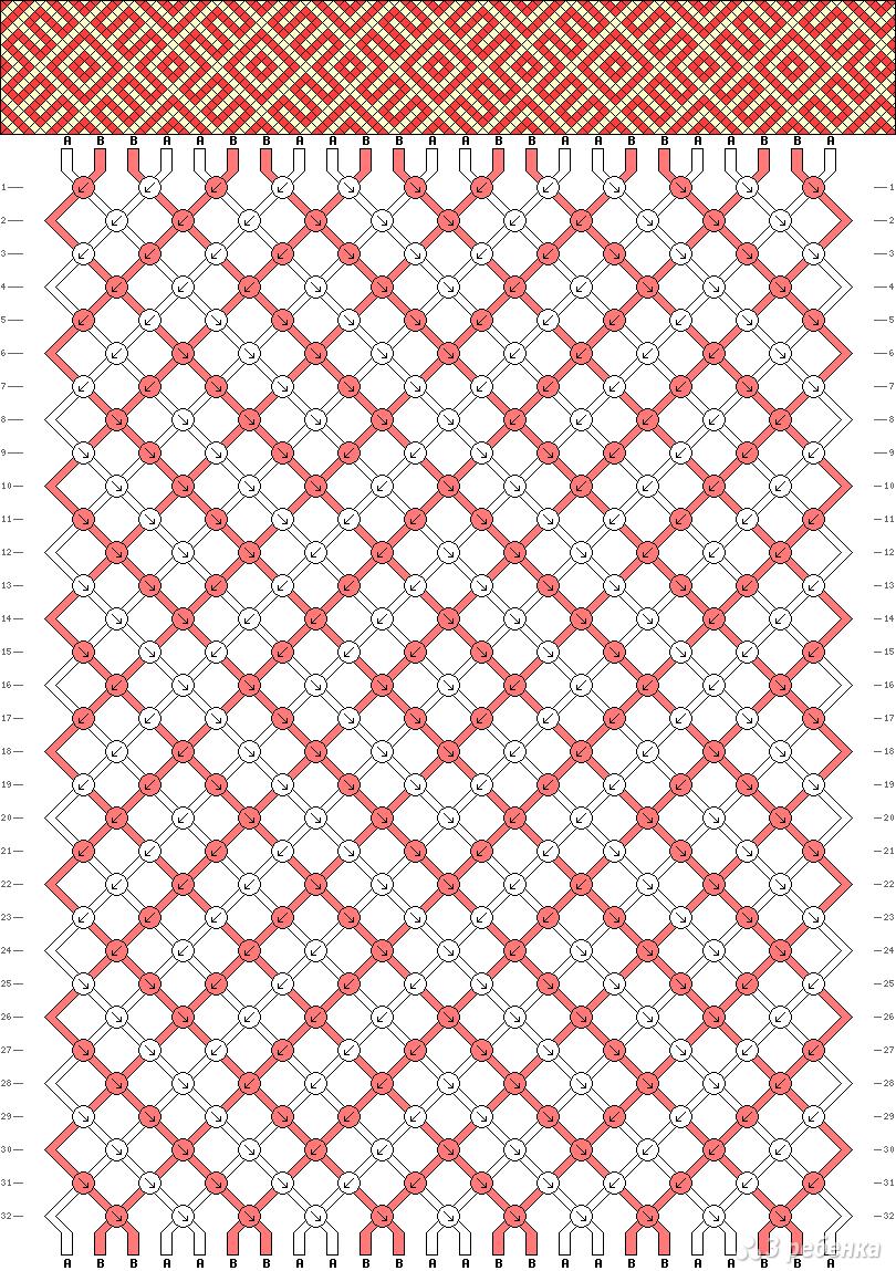 схема на фенечку прямым плетением