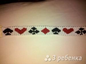 Схема фенечки прямым плетением 10083