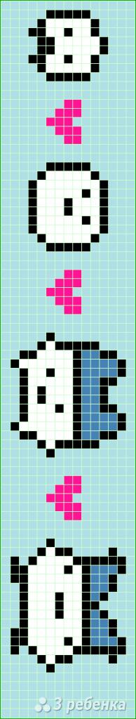 Схема фенечки прямым плетением 11419