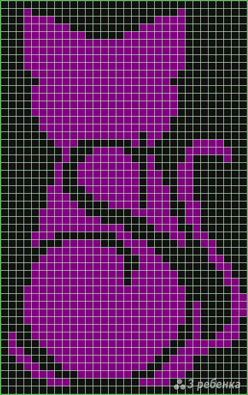 Схема фенечки прямым плетением 11524