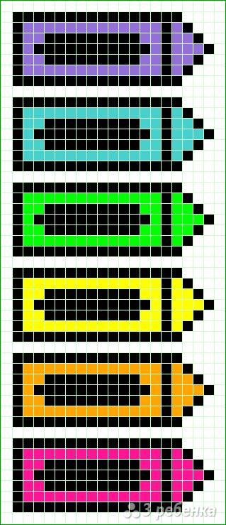 Схема фенечки прямым плетением 10260