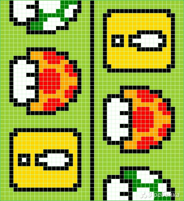 Схема фенечки прямым плетением 10713