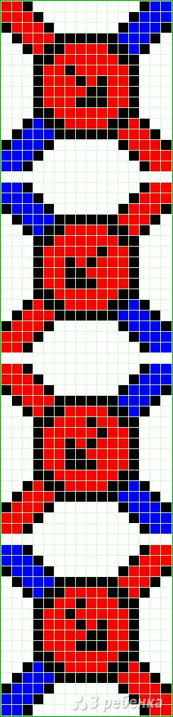 Схема фенечки прямым плетением 12967