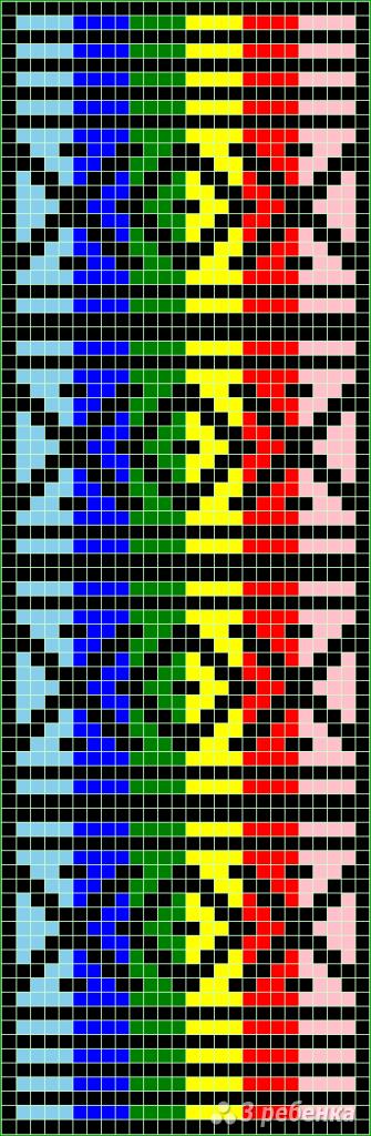 Схема фенечки прямым плетением 13036