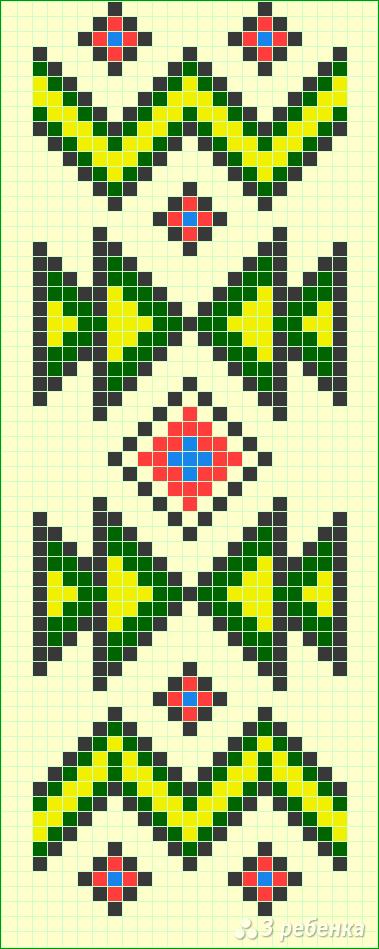 Схема фенечки прямым плетением 12897