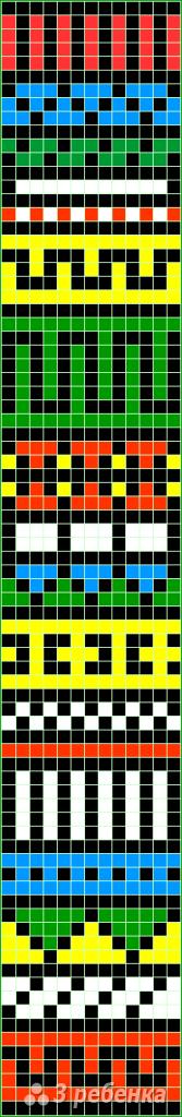Схема фенечки прямым плетением 14317