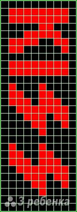 Схема фенечки прямым плетением 14516