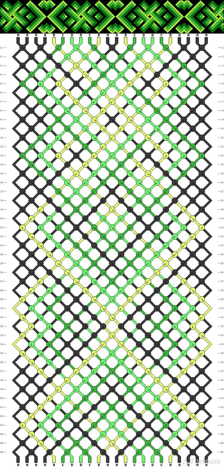 Схемы фенечек косого плетения без узлов фриволите