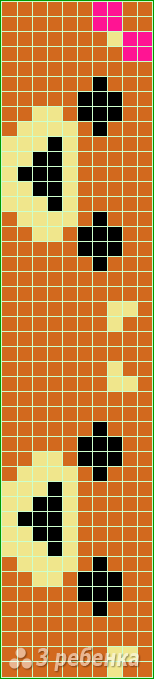 Схема фенечки прямым плетением 14878