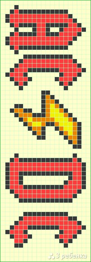 Схема фенечки прямым плетением 14883