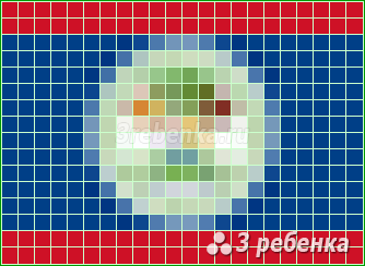Схема фенечки прямым плетением Белиз