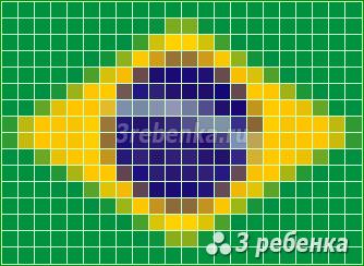 Схема фенечки прямым плетением Бразилия
