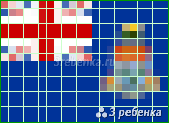 Схема фенечки прямым плетением Острова Кайман