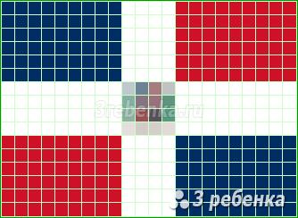Схема фенечки прямым плетением Доминиканская Республика