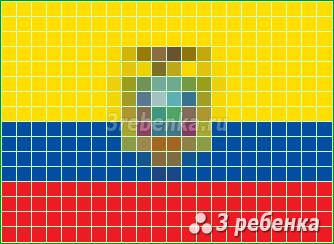 Схема фенечки прямым плетением Эквадор