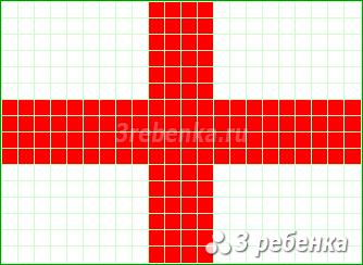 Схема фенечки прямым плетением Англия