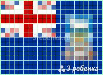 Схема фенечки прямым плетением Фолклендские острова