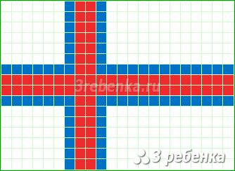 Схема фенечки прямым плетением Фарерские острова