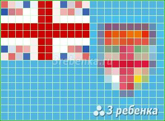 Схема фенечки прямым плетением Фиджи