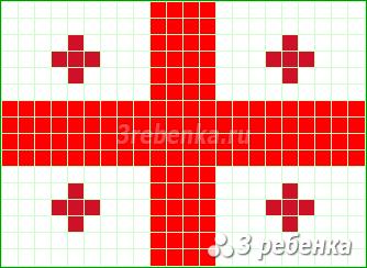 Схема фенечки прямым плетением Грузия