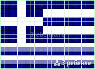 Схема фенечки прямым плетением Греция