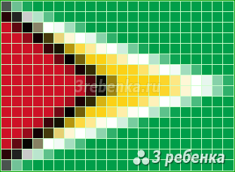 Схема фенечки прямым плетением Гайана