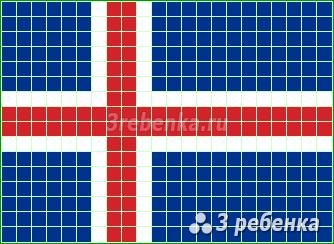Схема фенечки прямым плетением Исландия