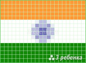 Схема фенечки прямым плетением Индия