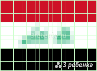Схема фенечки прямым плетением Ирак