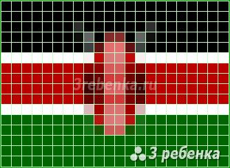 Схема фенечки прямым плетением Кения