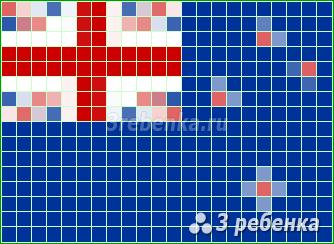Схема фенечки прямым плетением Новая Зеландия