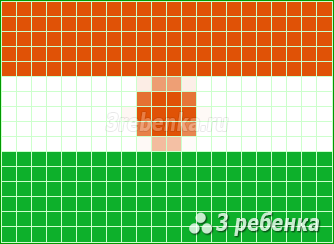 Схема фенечки прямым плетением Нигер