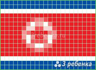 Схема фенечки прямым плетением Корейская Народно-Демократическая Республика