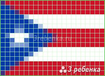 Схема фенечки прямым плетением Пуэрто-Рико