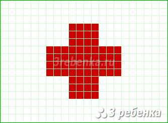 Схема фенечки прямым плетением Красный Крест